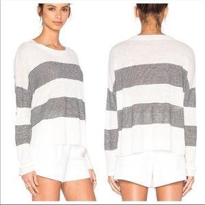 Vince Multi Stripe Linen Pullover Top | Small